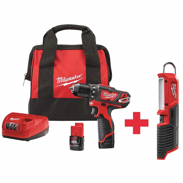 MILWAUKEE Cordless Drill Driver Kit Ergonomic 7DY84 2407 22 2351 20 Grainger