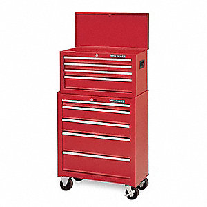 "Red Combination Tool Chest/Cabinet, Width: 26-1/2"", Depth: 14"", Height: 47-3/4"""