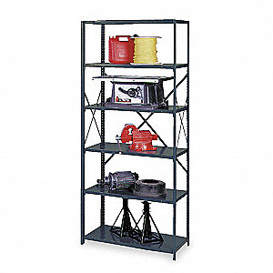 "Freestanding Open Metal Shelving, 48""W x 12""D x 85"" Load Cap., 6 Shelves, Gray"