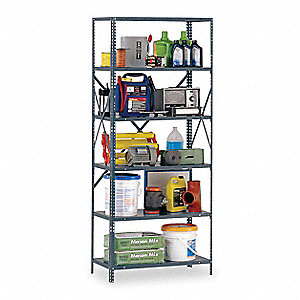 "Freestanding Open Metal Shelving, 48""W x 24""D x 85"" Load Cap., 8 Shelves, Gray"