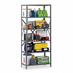 "Starter Open Metal Shelving, 36""W x 18""D x 85"" Load Cap., 6 Shelves, Gray"