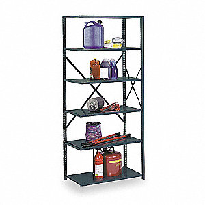 "Add-On Open Metal Shelving, 36""W x 12""D x 85"" Load Cap., 5 Shelves, Gray"
