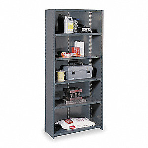 "Starter Closed Metal Shelving, 36""W x 18""D x 85"" Load Cap., 8 Shelves, Gray"