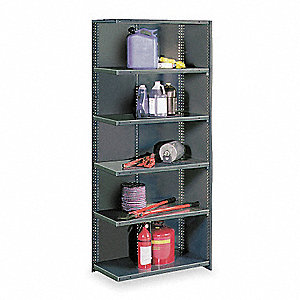 "Add-On Closed Metal Shelving, 36""W x 12""D x 85"" Load Cap., 6 Shelves, Gray"