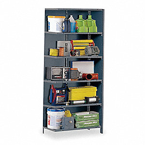 "Add-On Closed Metal Shelving, 36""W x 18""D x 85"" Load Cap., 6 Shelves, Gray"