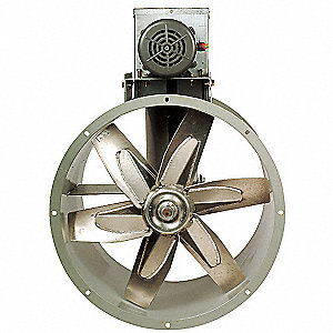 "24"" Capacitor Start Tubeaxial Fan with Motor and Drive Package, 115/230V, 1312 Fan RPM"