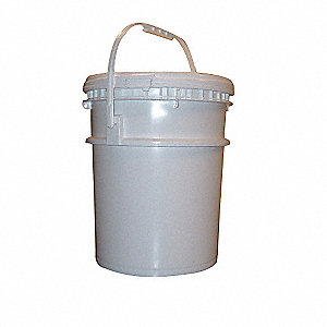 Pail,Screw Top,Round,5 gal,HDPE,White