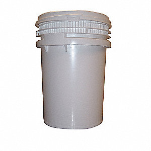 Pail,Screw Top,Round,10 gal,HDPE,White