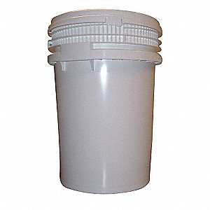 Pail,Screw Top,Round,12 gal,HDPE,White