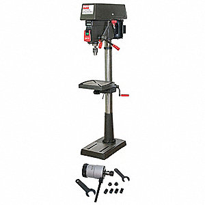 "1-1/2 Motor HP Floor Drill Press W/ Tapping Head, 20"" Swing, 120/240 Voltage"