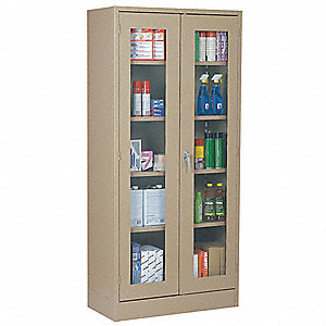 "Storage Cabinet, Tan, 78"" Overall Height, Unassembled"