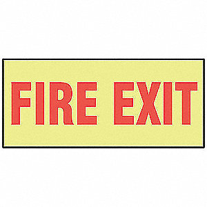 Fire Exit Sign,3-1/2 x 10In,R/YEL,ENG