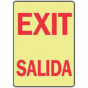 "Spanish-Bilingual Exit Sign,14"" x 10"""
