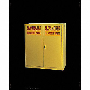 "58"" x 31-1/2"" x 65"" Galvanized Steel Vertical Drum Safety Cabinet with Self-Closing Doors, Yellow"