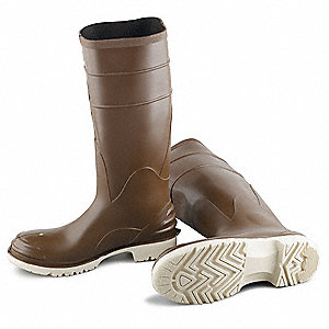 "16""H Men's Knee Boots, Steel Toe Type, Polyblend® Upper Material, Brown, Size 8"