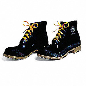 "6""H Men's Ankle Boots, Steel Toe Type, PVC Upper Material, Black, Size 12"