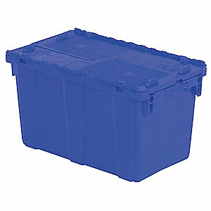 "22-1/4""L x 13""W x 13-3/4""H High Density Polyethylene Attached Lid Container, Blue"
