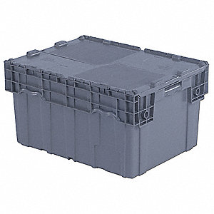 "Attached Lid Container, Gray, 15-13/16""H x 27-7/8""L x 20-7/8""W, 1EA"