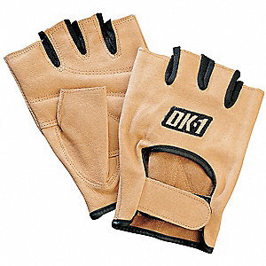 Leather Mechanics Gloves, Grain Leather Palm Material, Tan, L, PR 1