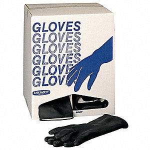 Chemical Resistant Gloves, Cotton Flock Lining, Black, PR 1