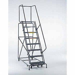 "10-Step Rolling Ladder, Perforated Step Tread, 133"" Overall Height, 450 lb. Load Capacity"