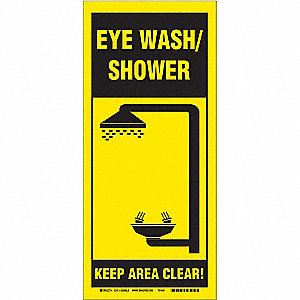 Safety Shower Sign,BK/YEL,PLSTC,ENG,SURF