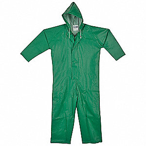 Men's Polyester/PVC Flame-Resistant Coverall Rainsuit with Attached Hood, Green, XL