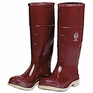 "16""H Men's Knee Boots, Steel Toe Type, Polyurethane and PVC Upper Material, Brick Red, Size 13"