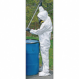 Collared Chemical Resistant Coveralls with Open Cuff, White, 2XL, Tychem® SL