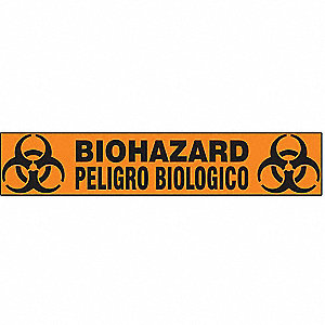"Biohazard Warning Tape, Message, Continuous Roll, 2"" Width, 1 EA"