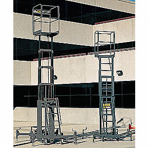Telescoping Lift, Push-Around Drive, Hydraulic Hand Pump Power Source, 21 ft. Max. Work Height