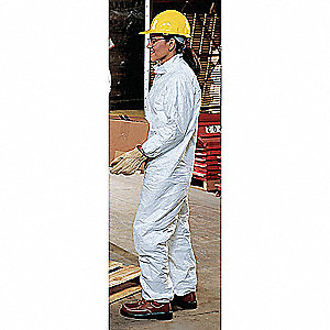 Collared Disposable Coveralls with Elastic Cuff, White, 3XL, Tyvek®