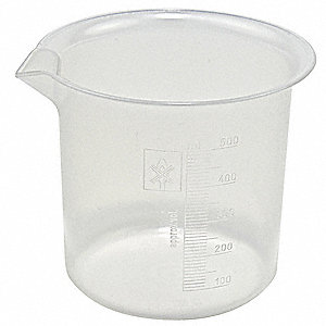 Plastic Low Form Beaker, Low Form, 100 to 500mL, 6 PK