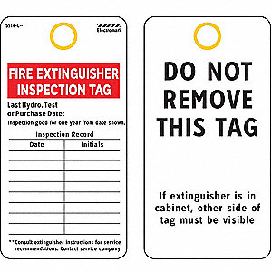 "Cardstock Fire Extinguisher Inspection Inspection Tag, 5-3/8"" Height, 3"" Width"