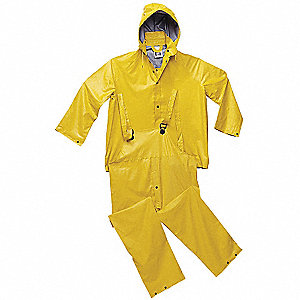 "Men's Yellow PVC 3-Piece Rainsuit with Detachable Hood, Size: L, Fits Chest Size: 42"" to 44"""