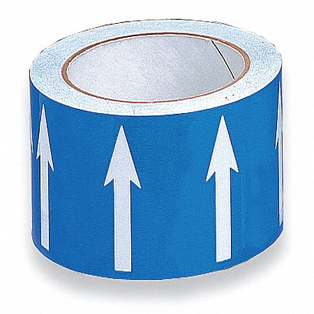 Arrow Tape,  Background Color Blue,  Vinyl,  Pipe Marker Mounting Style Adhesive Pipe Marker
