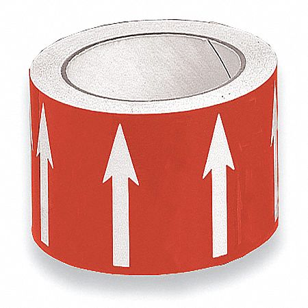 Banding Tape,  Background Color Red,  Vinyl,  Pipe Marker Mounting Style Adhesive Pipe Marker