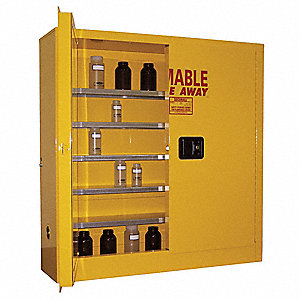 "43"" x 12"" x 44"" Galvanized Steel Flammable Liquid Safety Cabinet with Manual Doors, Yellow"
