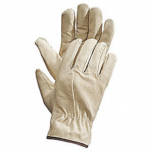 Pigskin Leather Driver's Gloves with Shirred Cuff, Cream, M