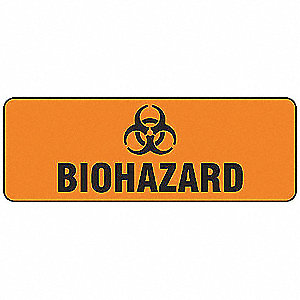 "Biohazard, No Header, Aluminum, 3-1/2"" x 10"", Not Retroreflective"
