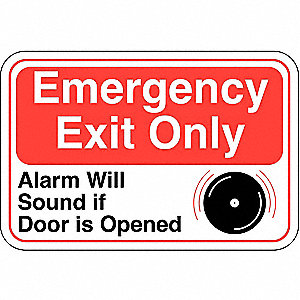 Emergency Exit Sign,6 x 9In,R and BK/WHT