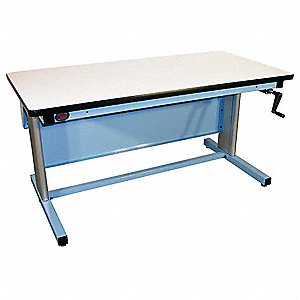 "Hand Crank Workbench, Laminate, 30"" Depth, 30"" to 42"" Height, 72"" Width, 330 lb. Load Capacity"