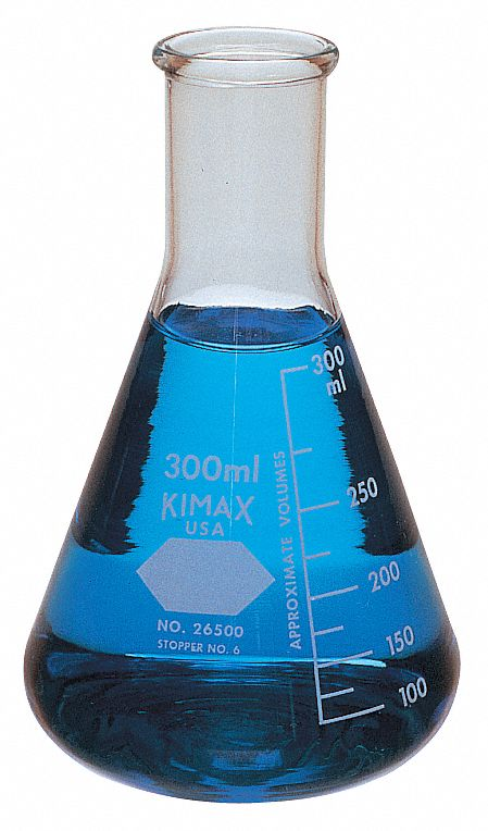4,000 mL / 135 oz Glass Erlenmeyer Flask, Narrow Neck, Clear, Height: 355 mm, 1 EA