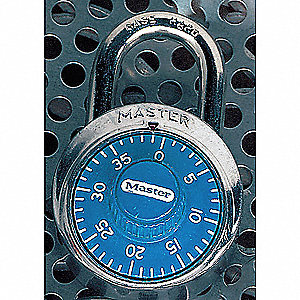 Combination Padlock,Center,Blue/Silver
