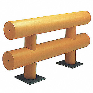 Safety Yellow Guard Rail System, High Density Polyethylene, Floor Mounted Mounting Style