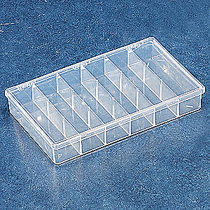 "Compartment Box, Clear, 1-3/4""H x 6-3/4""L x 11""W, 1EA"