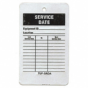 "Svce Rcd Tag,5 x 3"",Bk and R/Wht,PK25"