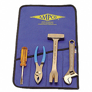 Nonsparking Tool Set,Nonmagnetic, Corrosion Resistant,Number of Pieces 4