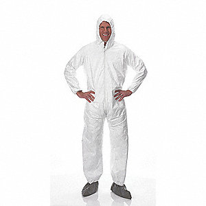 Hooded Disposable Coveralls with Elastic Cuff, White, XL, Tyvek®