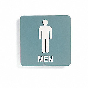 Restroom Sign,8 x 8In,WHT/Forest GRN,Men